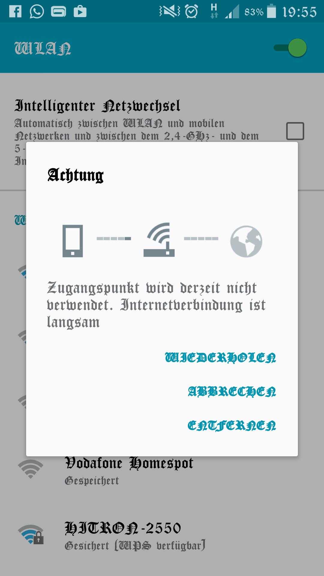 Zugangspunkt wird derzeit nicht verwendet. Internetverbindung langsam.
