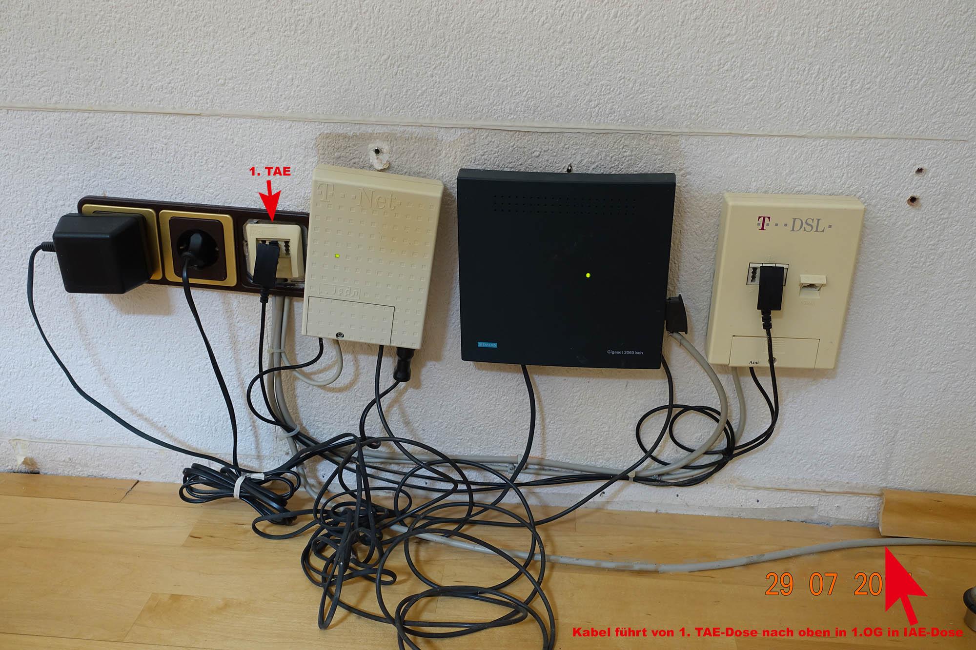 Umstellung von ISDN auf IP (Kabel von EG ins OG)