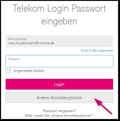 Telekom-Login Benutzername und/oder Passwort verge