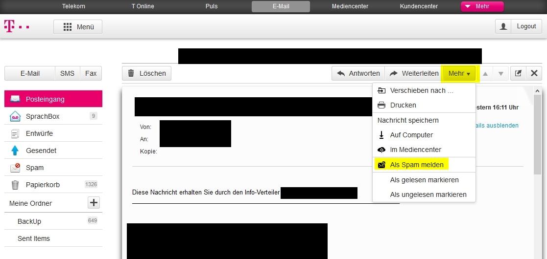 Falsche Telekom Mails