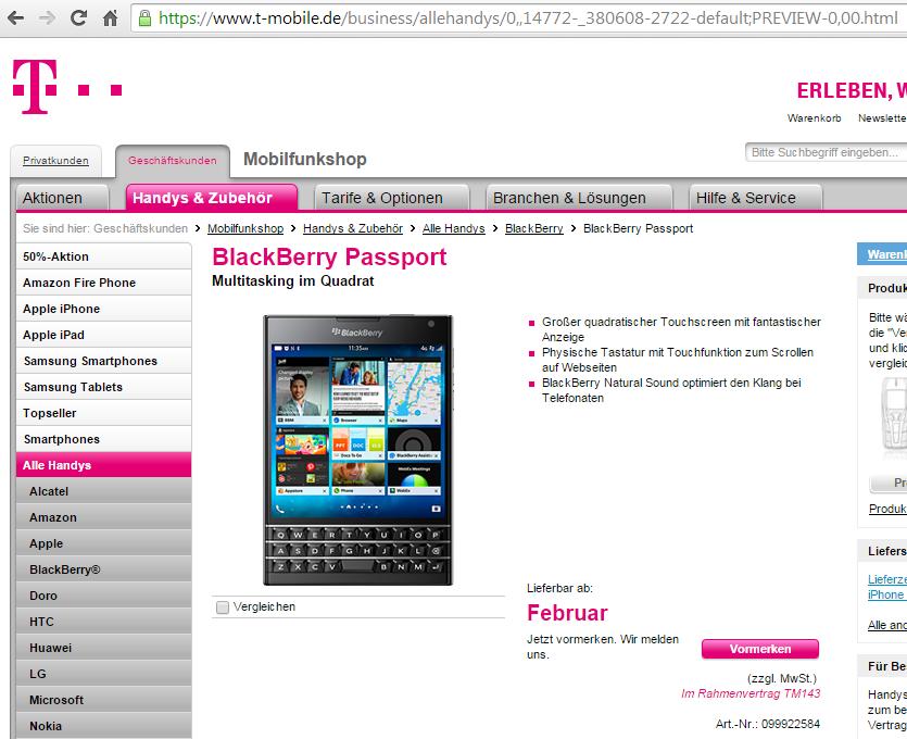 gel st blackberry passport nicht angeboten telekom. Black Bedroom Furniture Sets. Home Design Ideas
