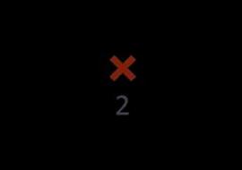 rotes X mit grauer Zahl 2 darunter