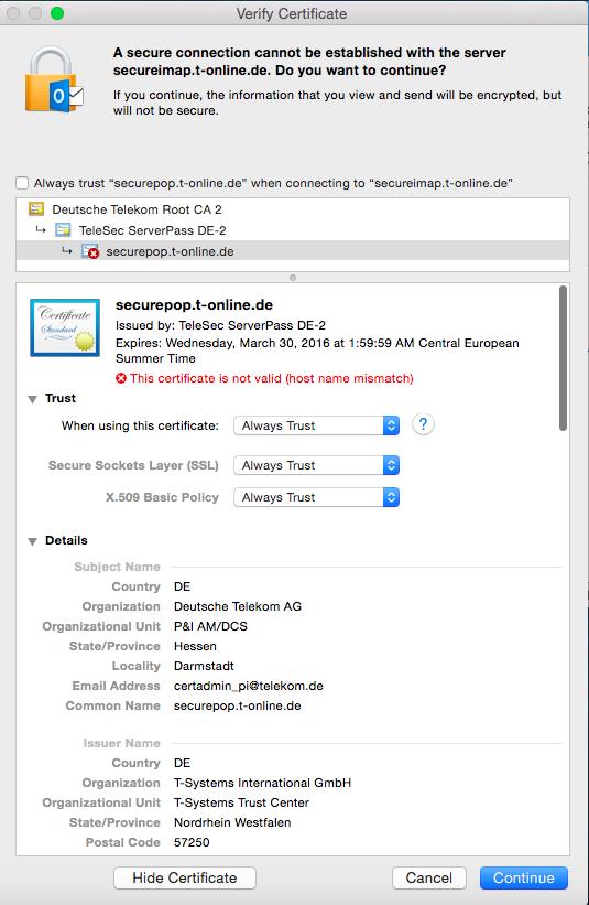 T-Online Email IMAP SSL Zertifikat - Problem Verbindung